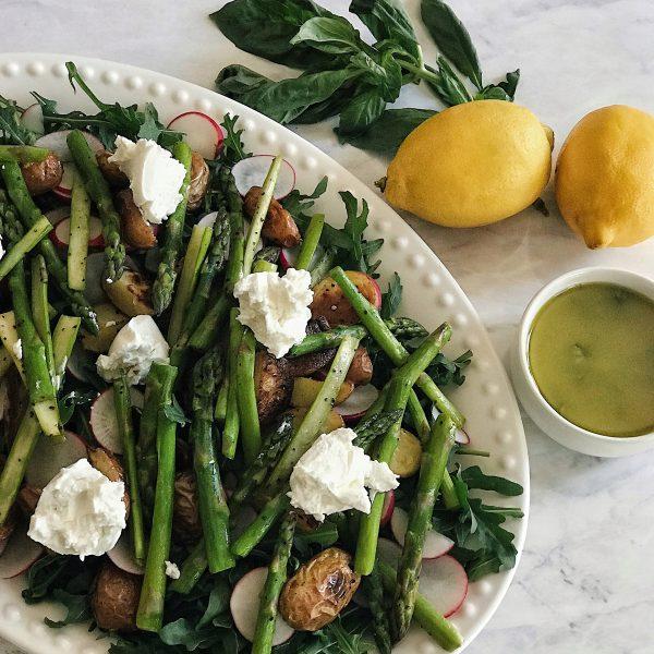 Roasted Potatoes & Asparagus Spring Salad with Lemon Basil Vinaigrette